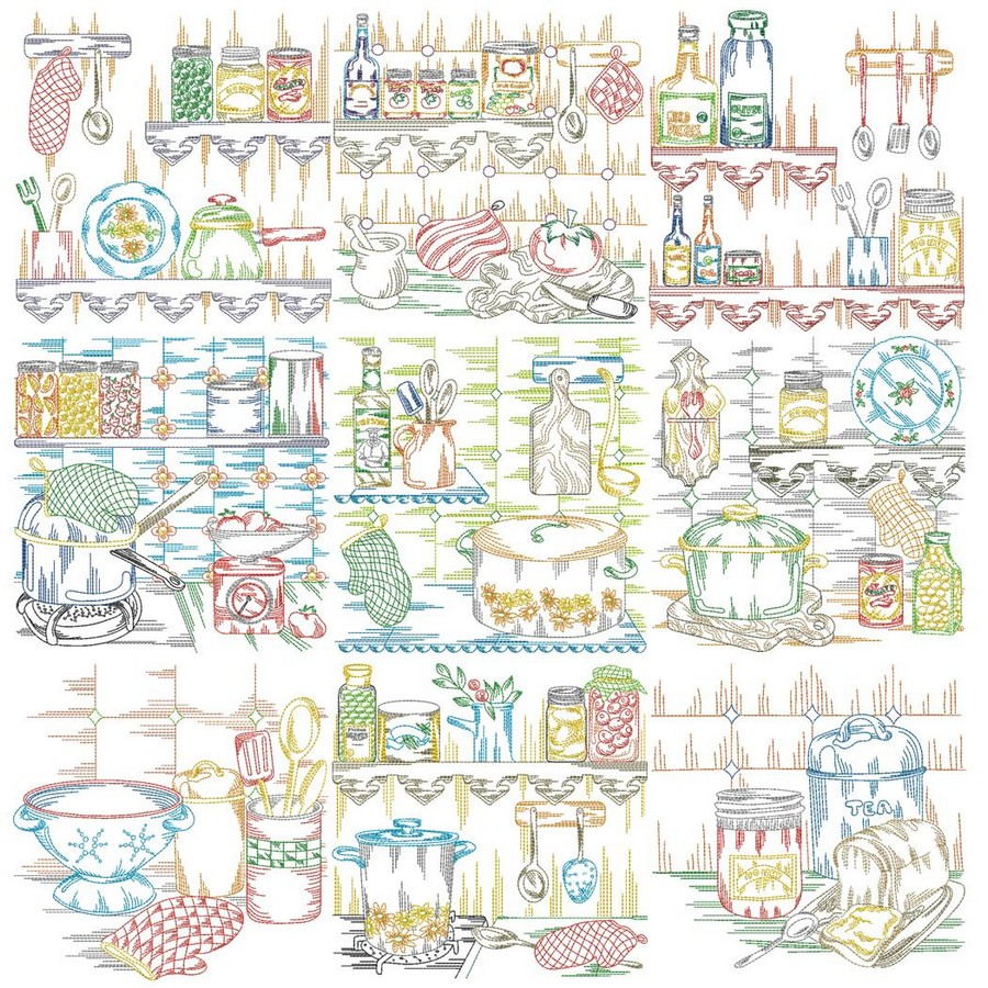 Old Fashioned Kitchen Machine Embroidery Designs By Sew Swell
