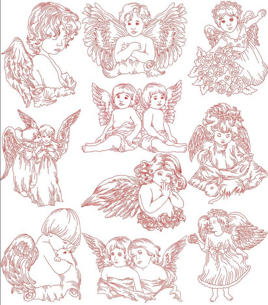 redwork little angels machine embroidery designs by sew swell