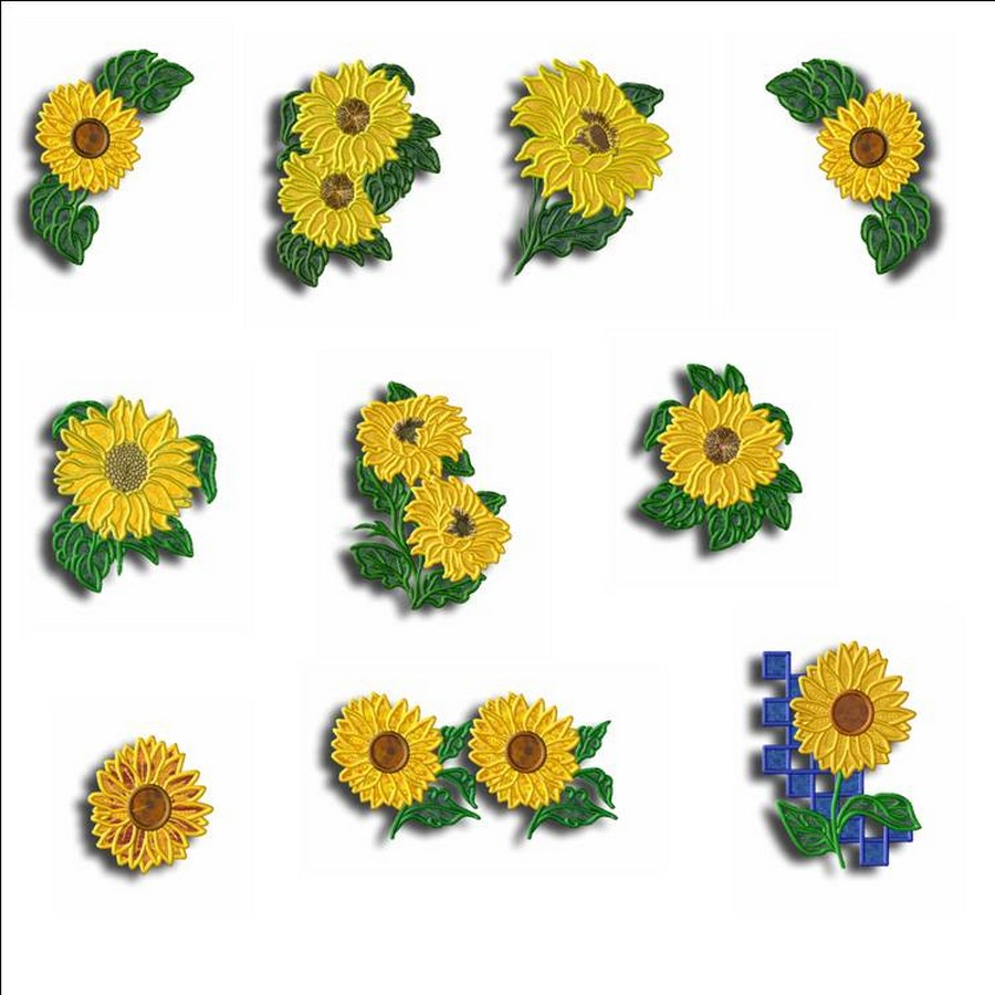 sunflower appliques machine embroidery designs by sew swell. Black Bedroom Furniture Sets. Home Design Ideas