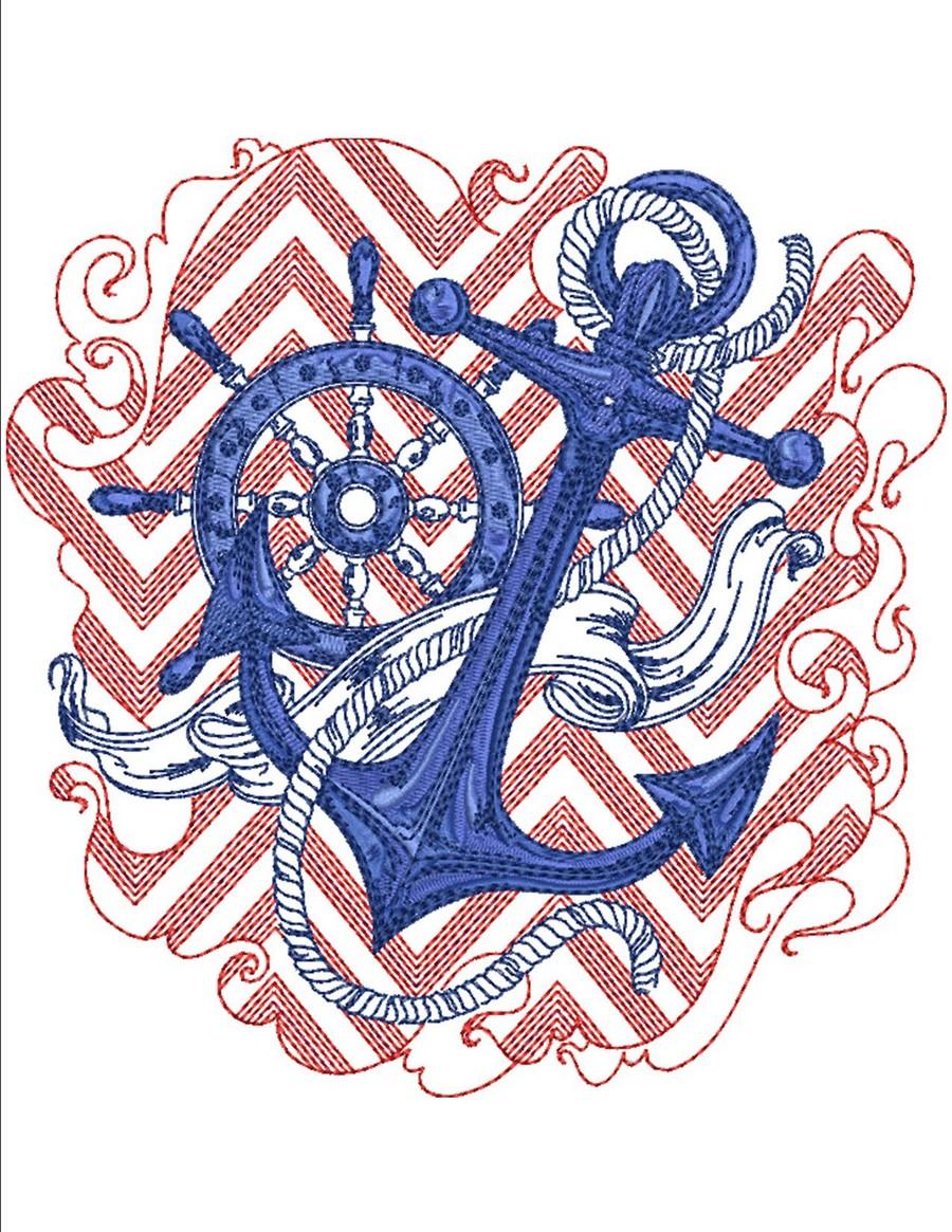 Chevron nautical machine embroidery designs by sew swell chevron nautical bankloansurffo Gallery