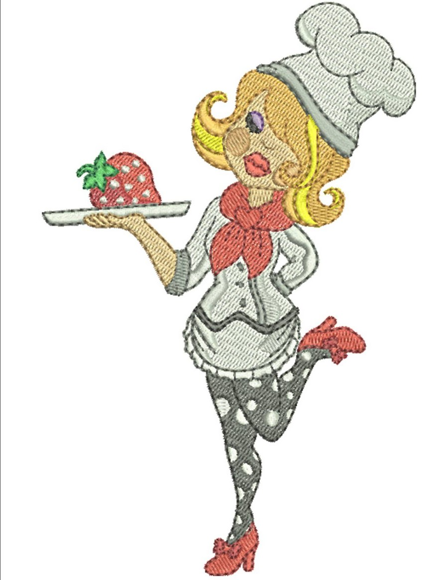 Fun chef ladies machine embroidery designs by sew swell