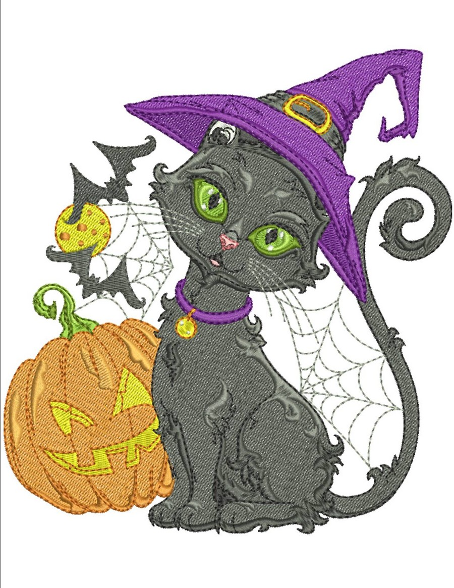 Halloween Black Cats | Machine Embroidery Designs By Sew Swell