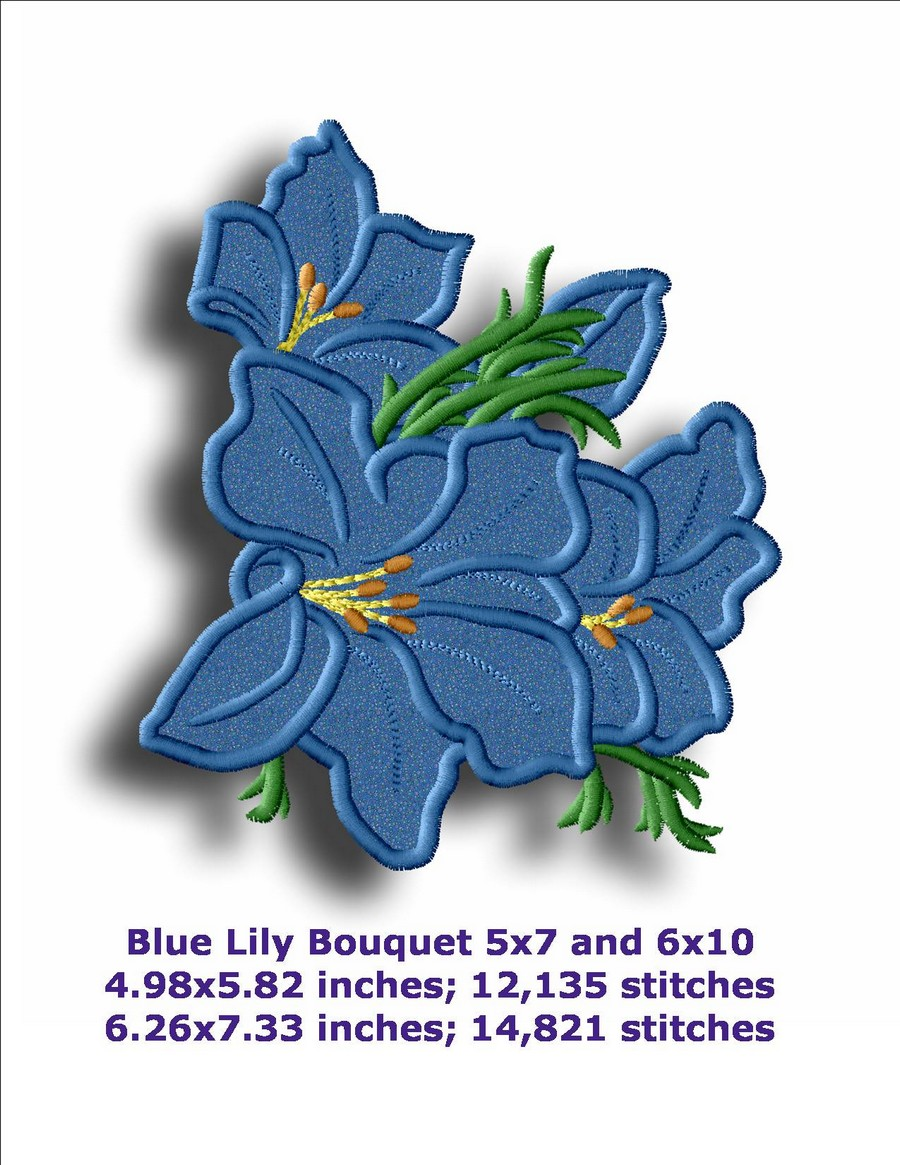 Blue lily applique machine embroidery designs by sew swell blue lily applique izmirmasajfo