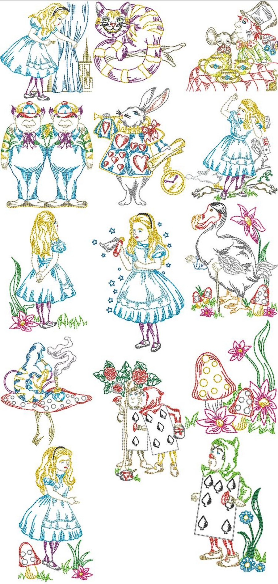 alice in wonderland machine embroidery designs by sew swell