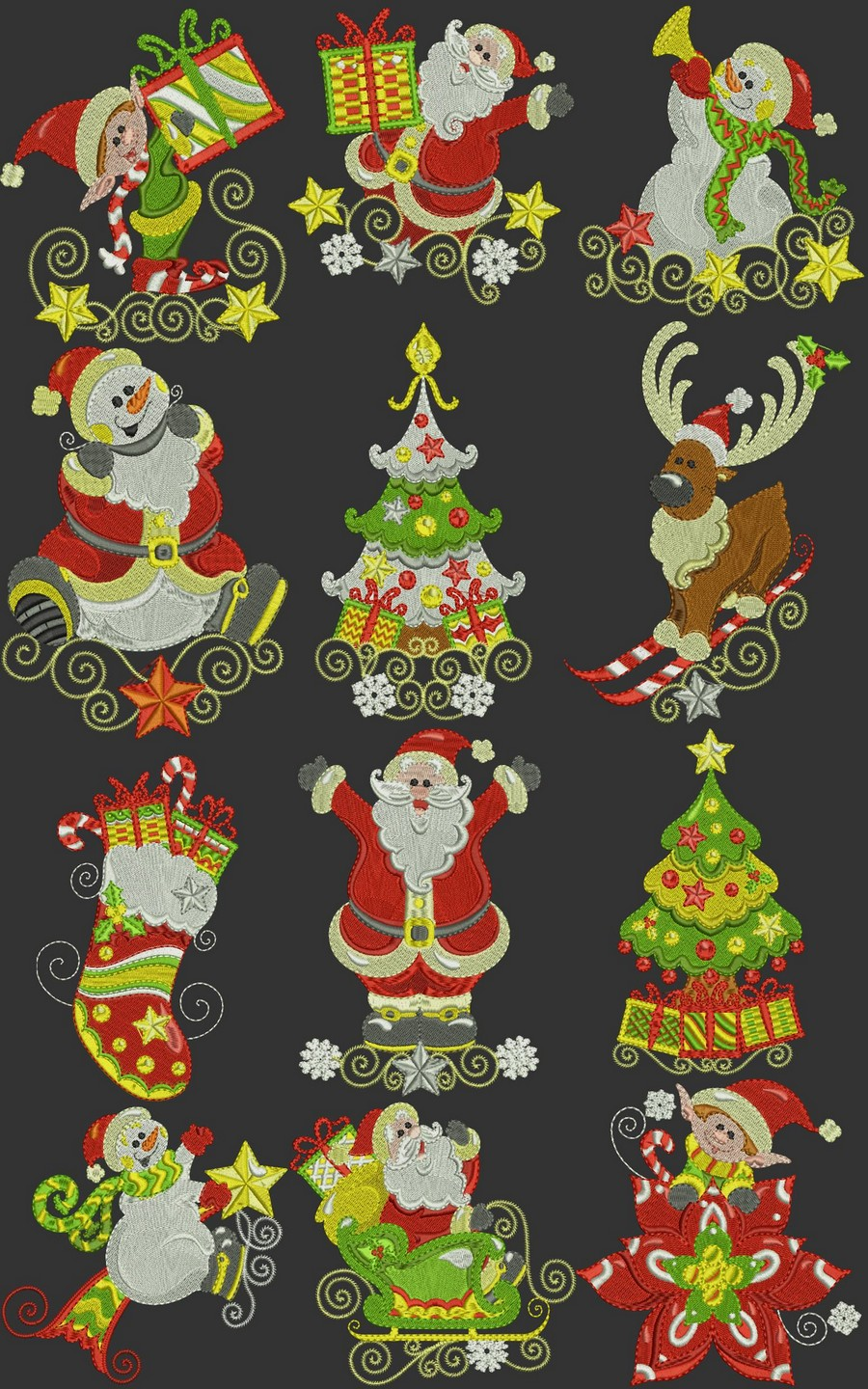 Swirly Curly Christmas Time Machine Embroidery Designs