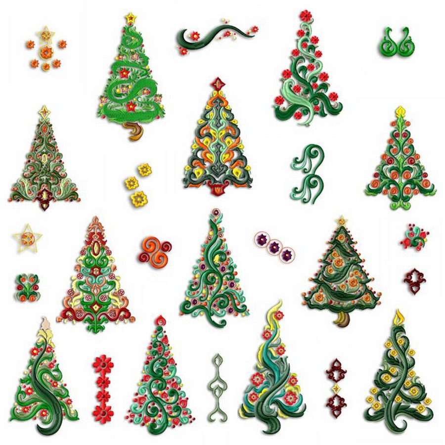Enchanting christmas trees machine embroidery designs by