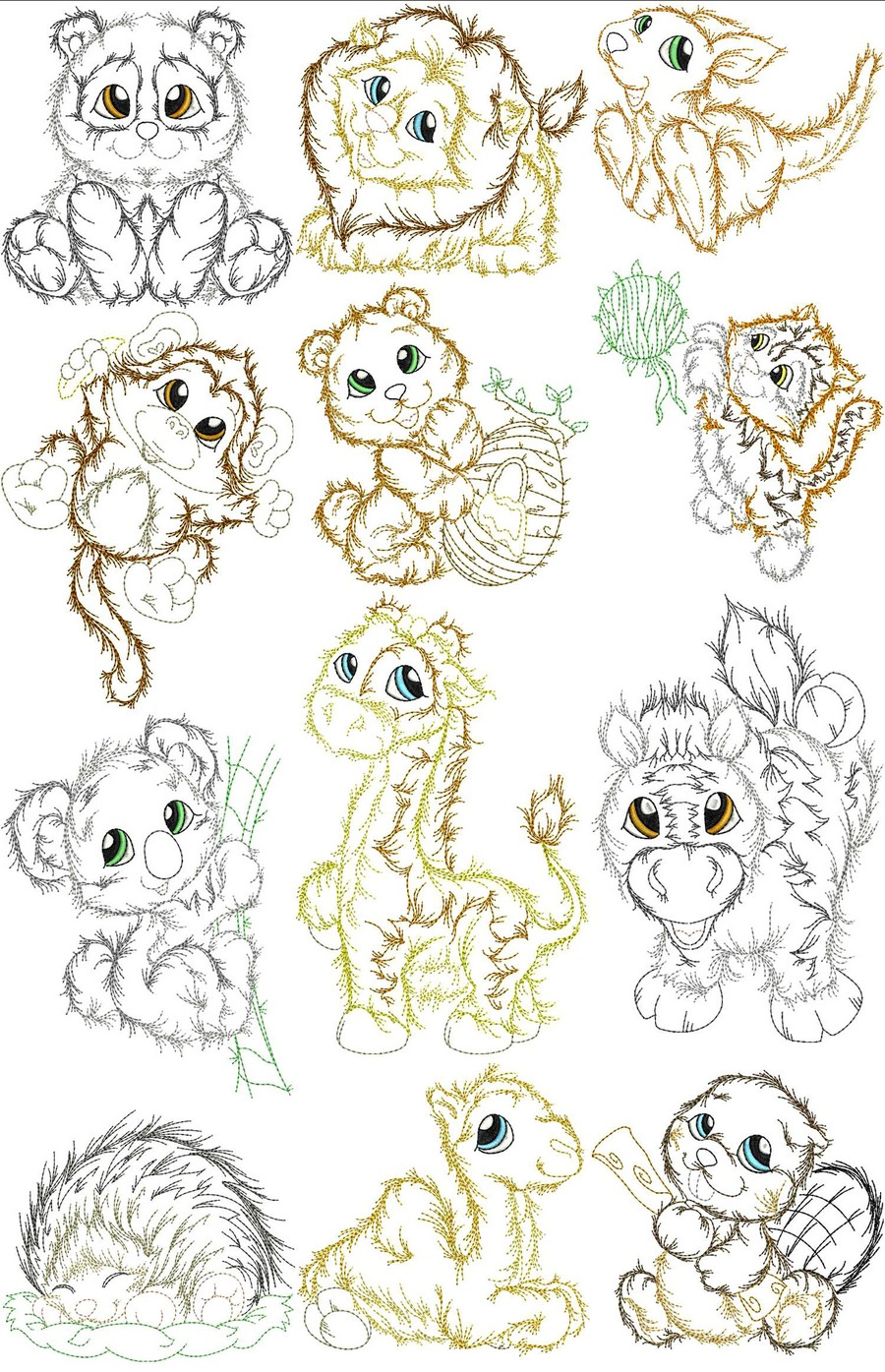 Fluffy wuffy baby zoo animals machine embroidery designs
