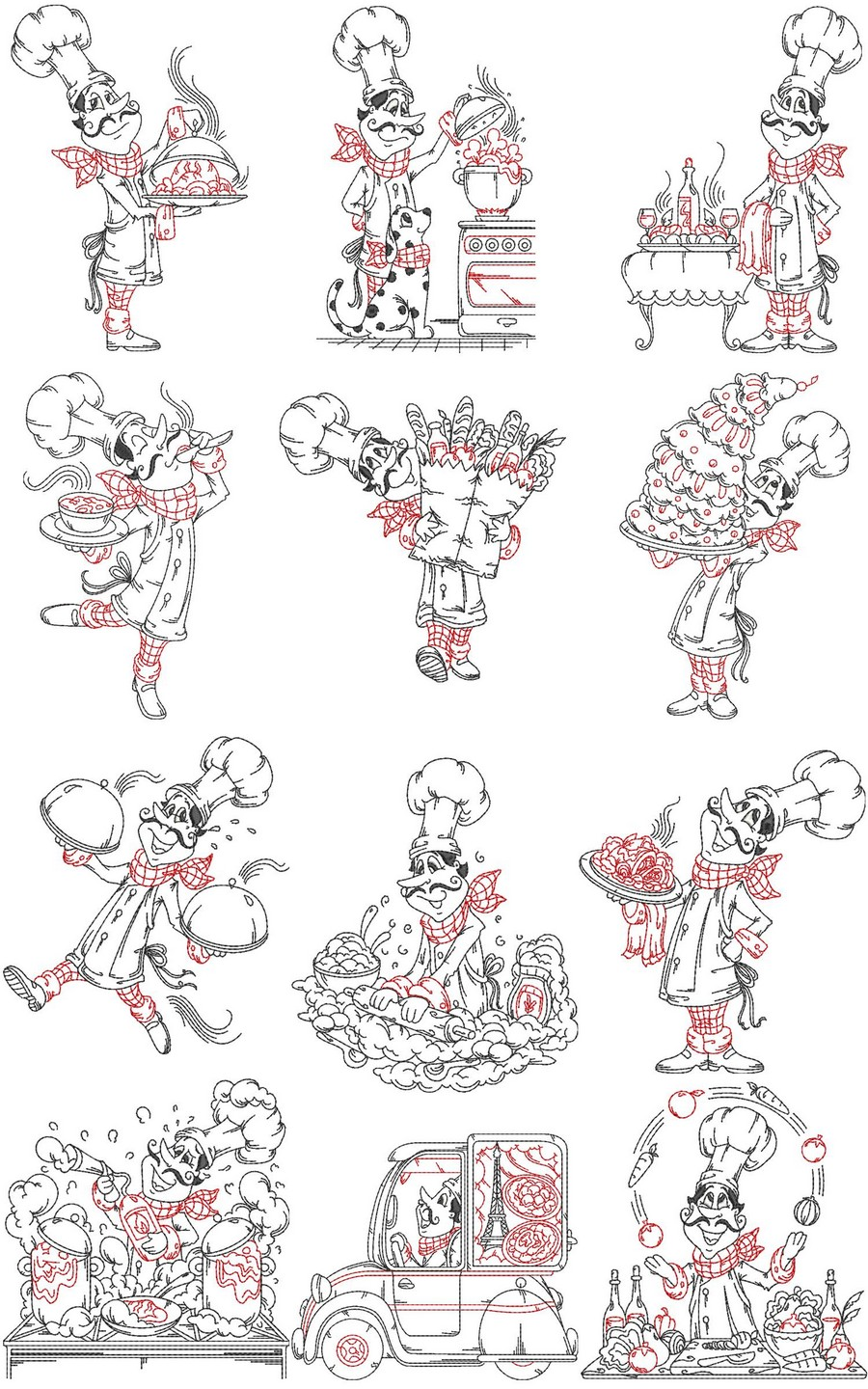 French Chefs Designs Machine Embroidery Designs By Sew Swell