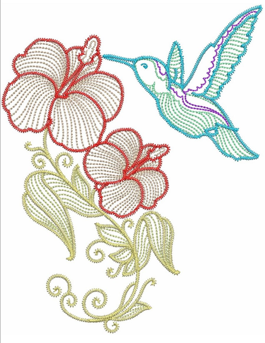 Hibiscus N Hummingbirds Couture Machine Embroidery Designs By Sew