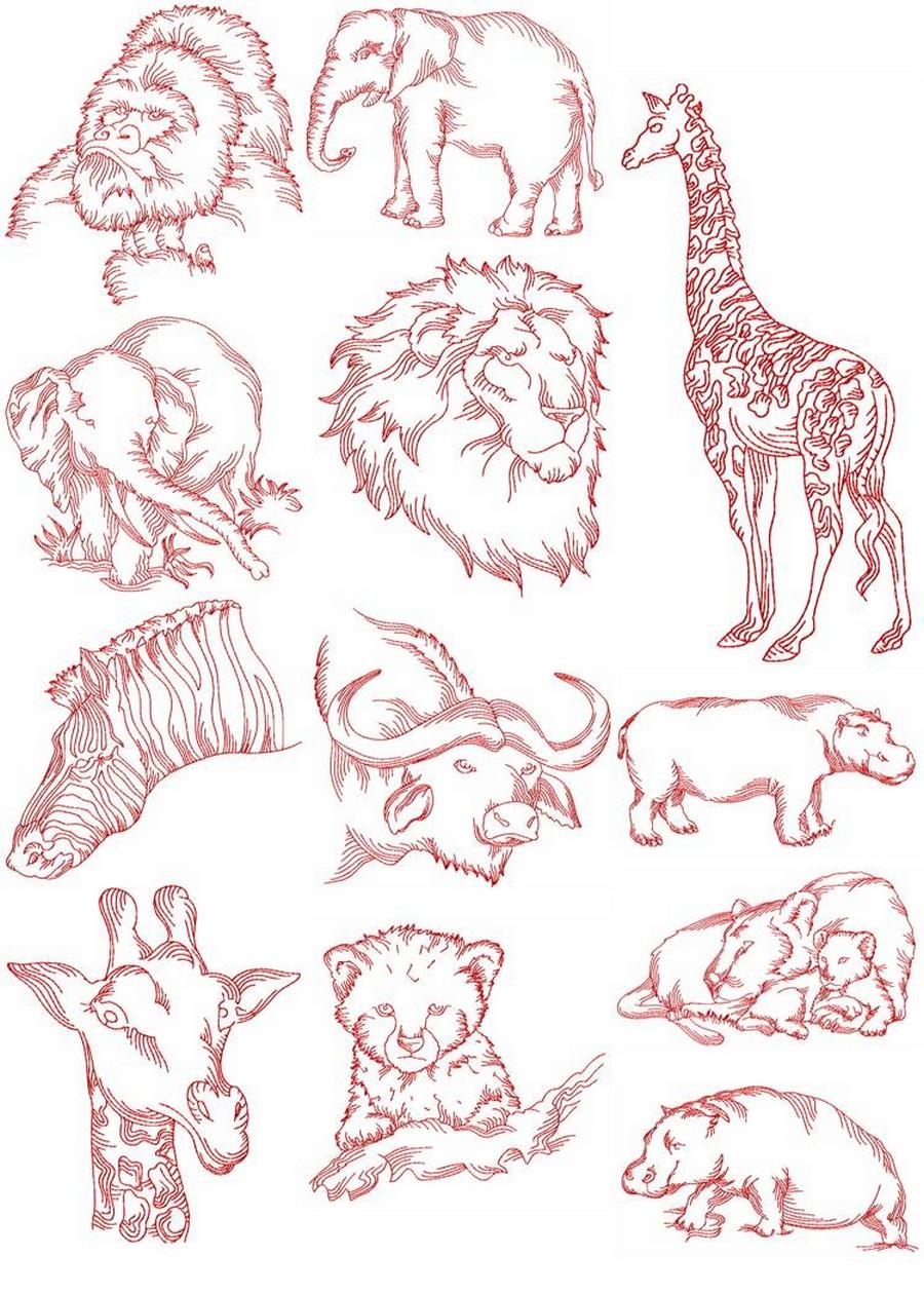 Redwork african animals machine embroidery designs by