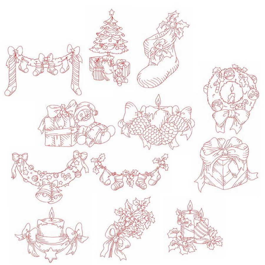 Redwork elegant christmas machine embroidery designs by