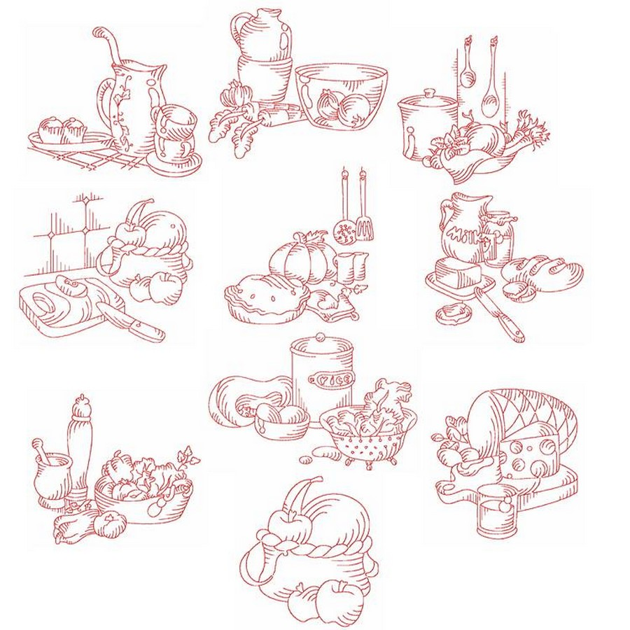 kitchen embroidery designs. Redwork Kitchen  Machine Embroidery Designs By Sew Swell
