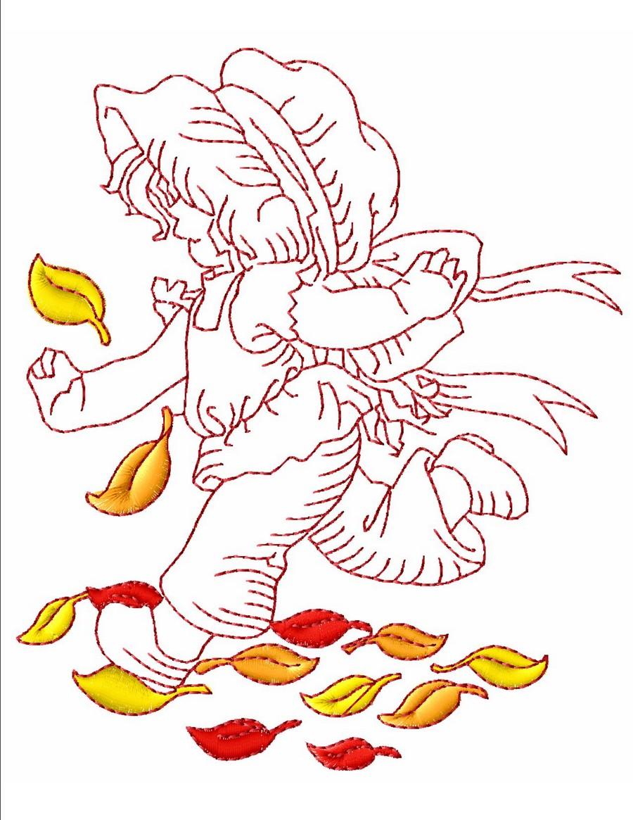 Redwork Autumn Sunbonnet Machine Embroidery Designs By