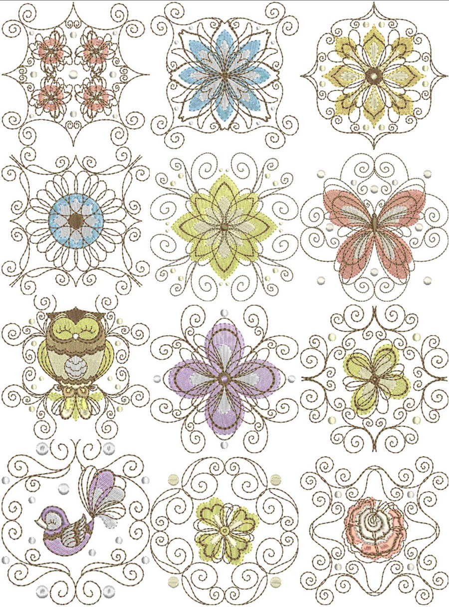 Retro Floral Swirl Block Machine Embroidery Designs By