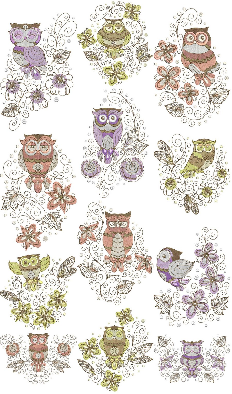 Retro Owl Swirls Designs Machine Embroidery By