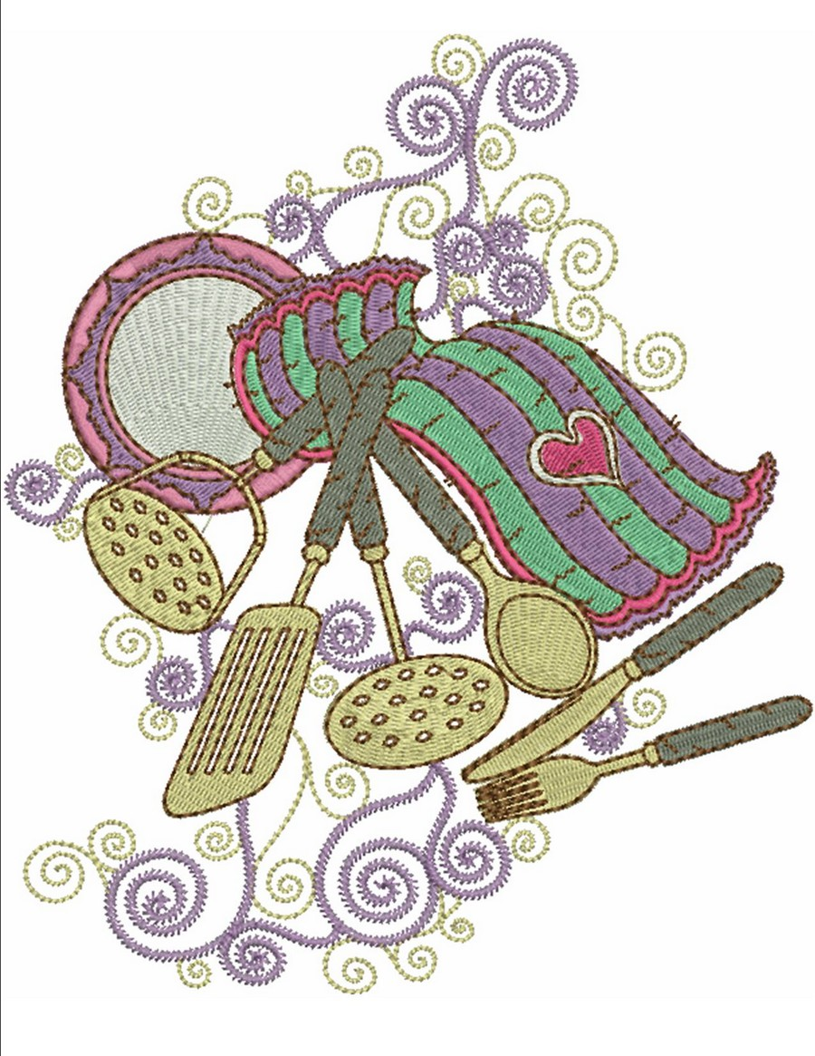 Swirly Curly Kitchen Machine Embroidery Designs By Sew Swell