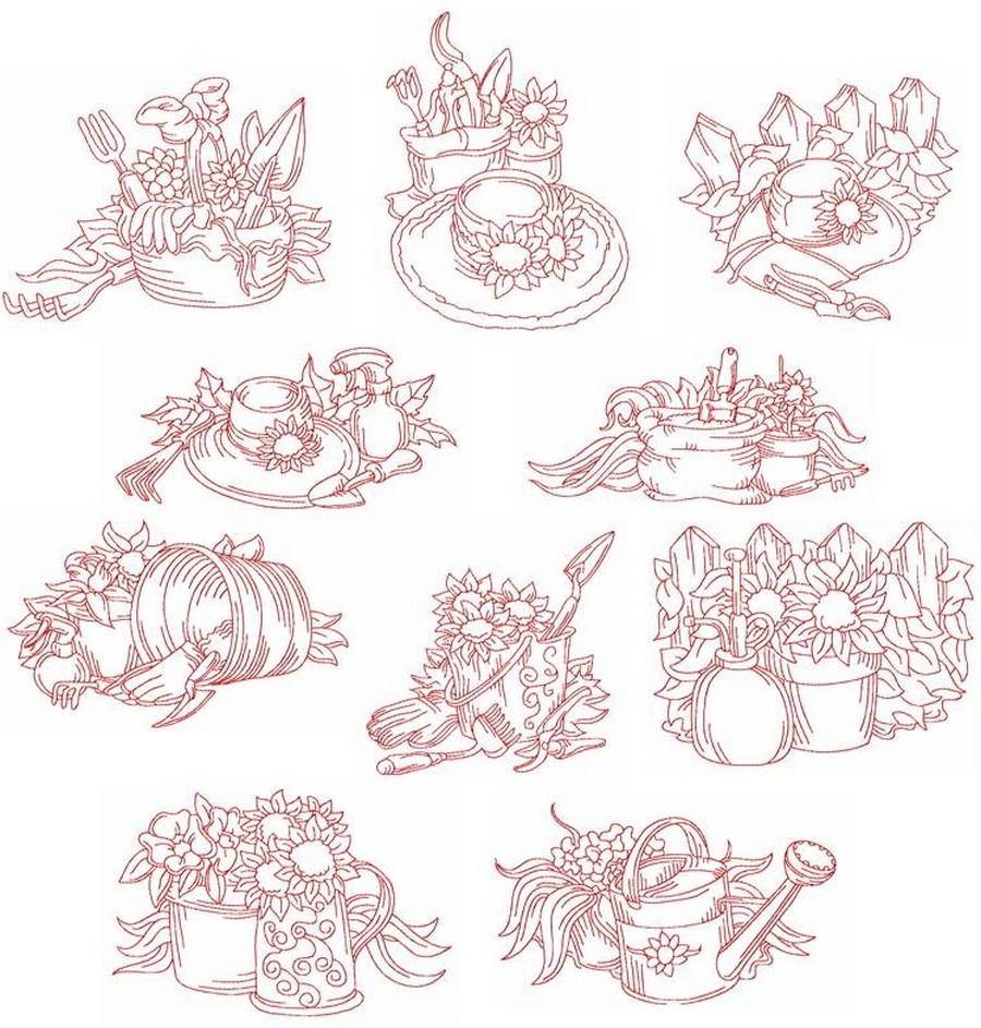 Redwork time to garden machine embroidery designs by sew for Garden embroidery designs free