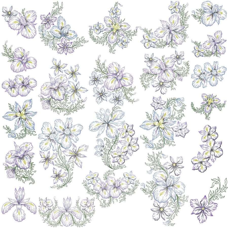 Timeless iris collection machine embroidery designs by sew swell bundle nvjuhfo Image collections