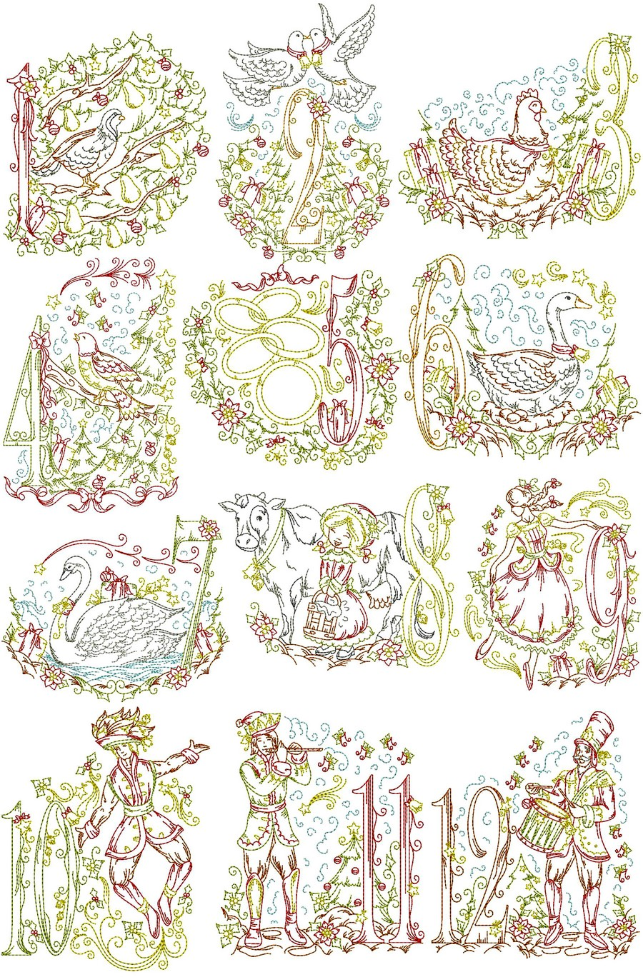 Twelve days of christmas machine embroidery designs by for Designs com