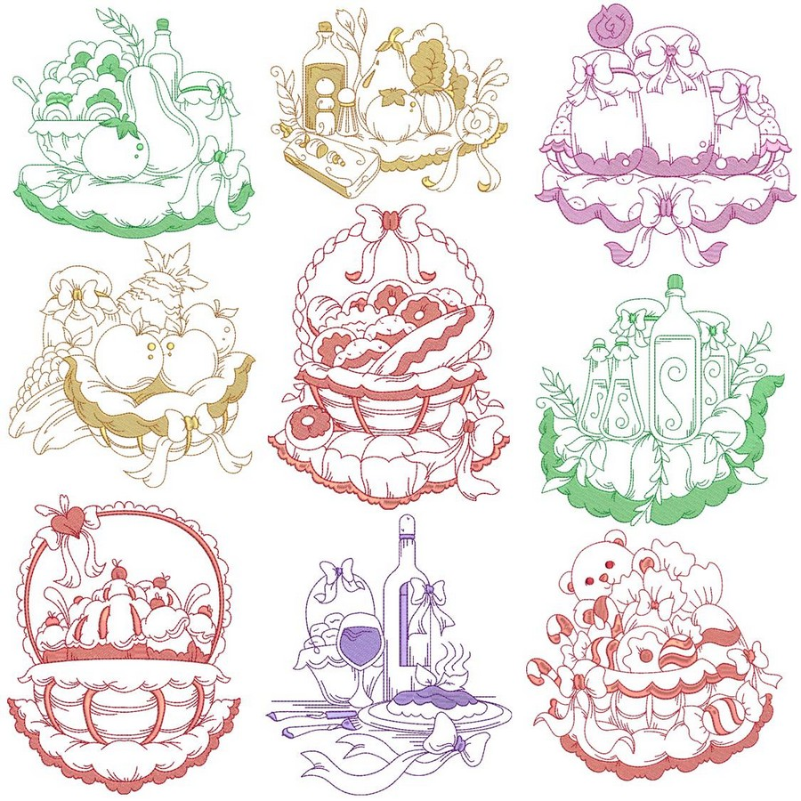Two Toned Gourmet Kitchen Machine Embroidery Designs By Sew Swell
