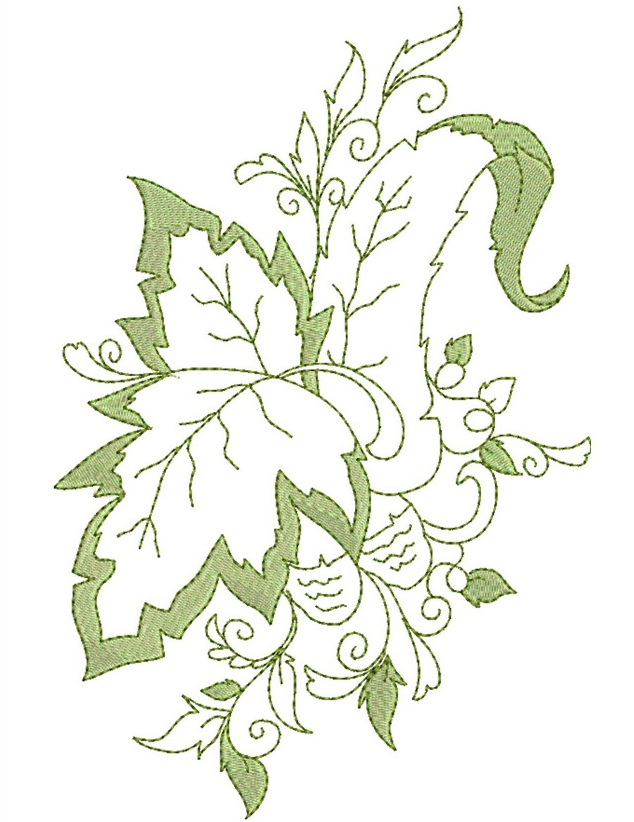Two toned leaves of autumn machine embroidery designs by