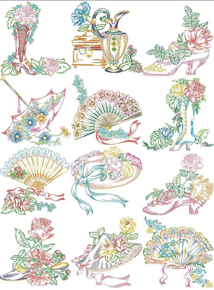 Victorian Ladies Accessories | Machine Embroidery Designs By Sew Swell