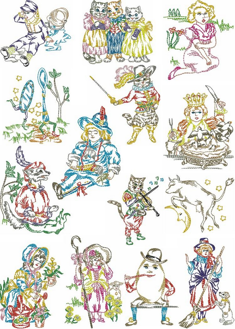 Vintage Nursery Rhymes Machine Embroidery Designs By Sew