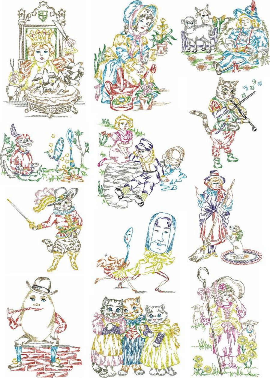 machine embroidery nursery rhymes