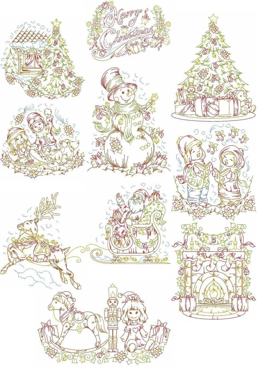 Vintage christmas to remember machine embroidery designs