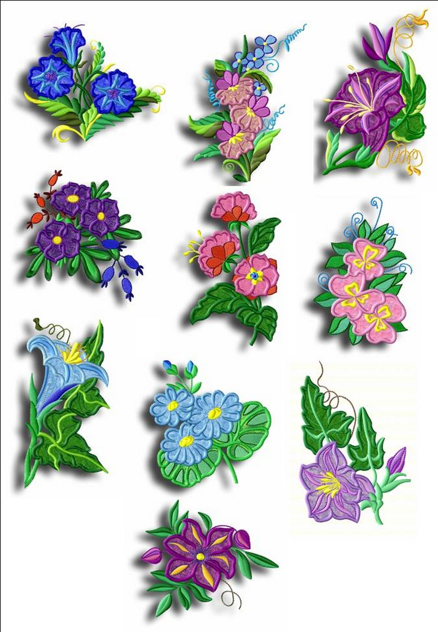 Wildflower Appliques Machine Embroidery Designs By Sew Swell