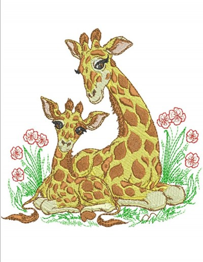 Mom And Baby Zoo Animals Machine Embroidery Designs By