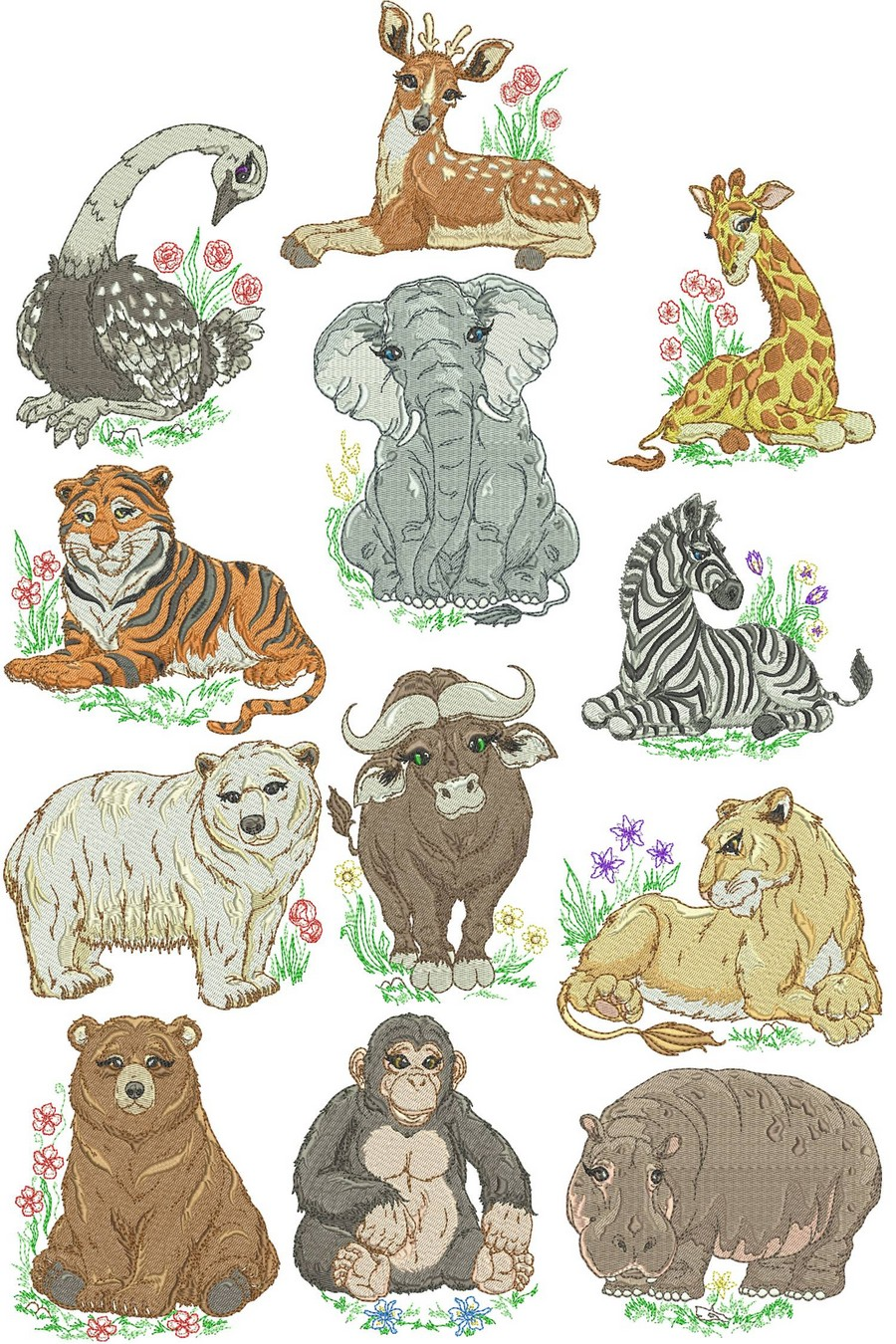 Mom And Baby Zoo Animals | Machine Embroidery Designs By Sew Swell