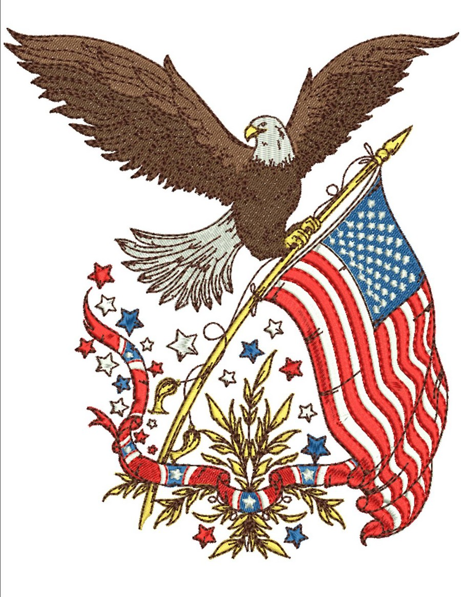 Patriotic Redwork Embroidery Designs