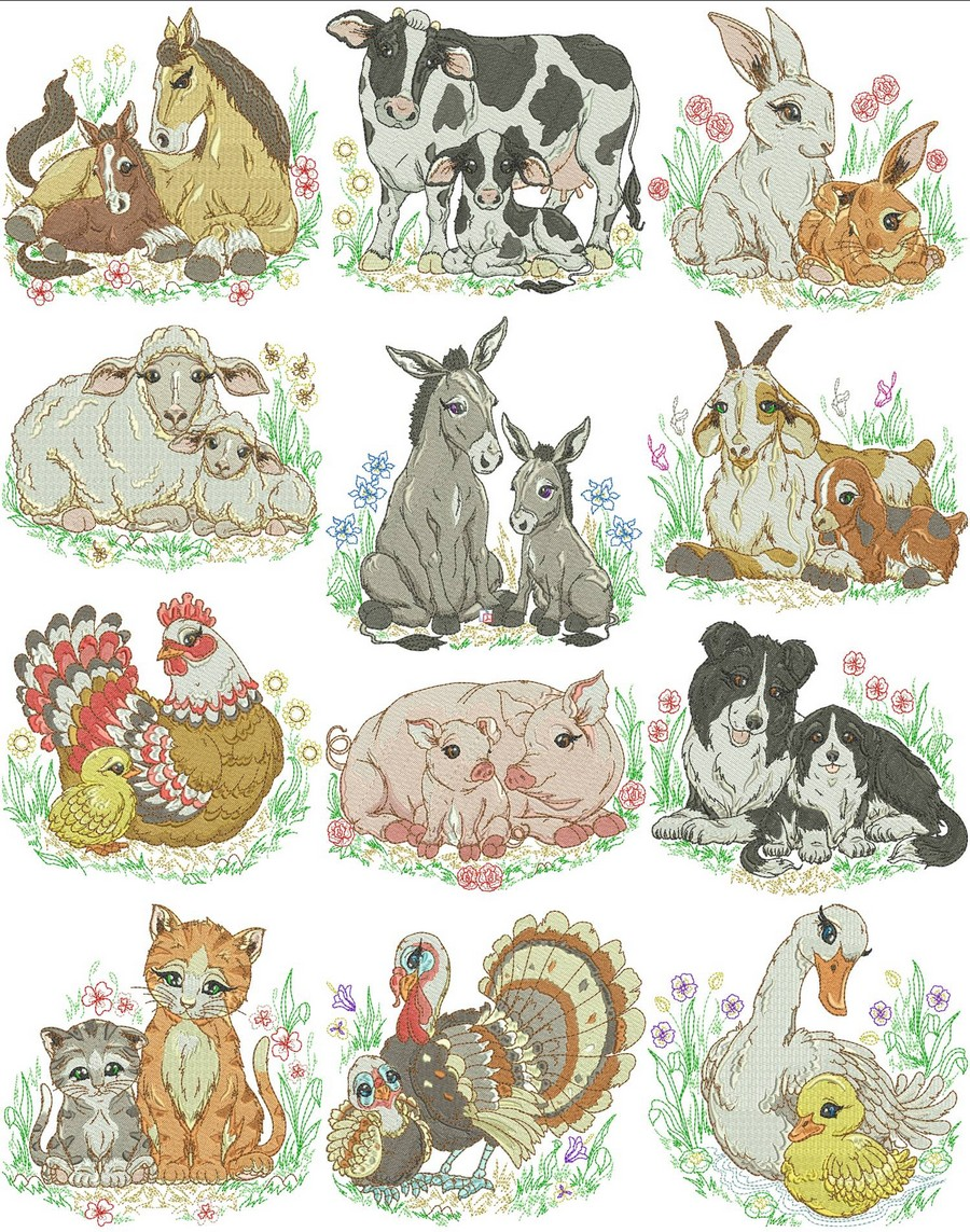 Mom and baby farm animals machine embroidery designs by