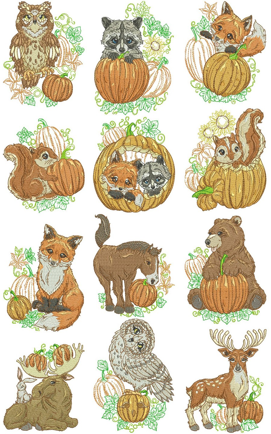 animal autumn critters embroidery designs machine
