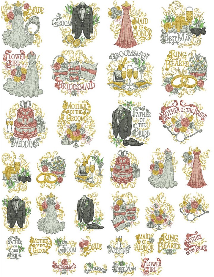 Wedding party machine embroidery designs by sew swell