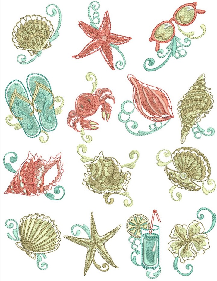 Beach elegance machine embroidery designs by sew swell for Beach house embroidery design