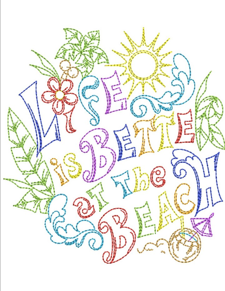 Beach life machine embroidery designs by sew swell for Beach house embroidery design