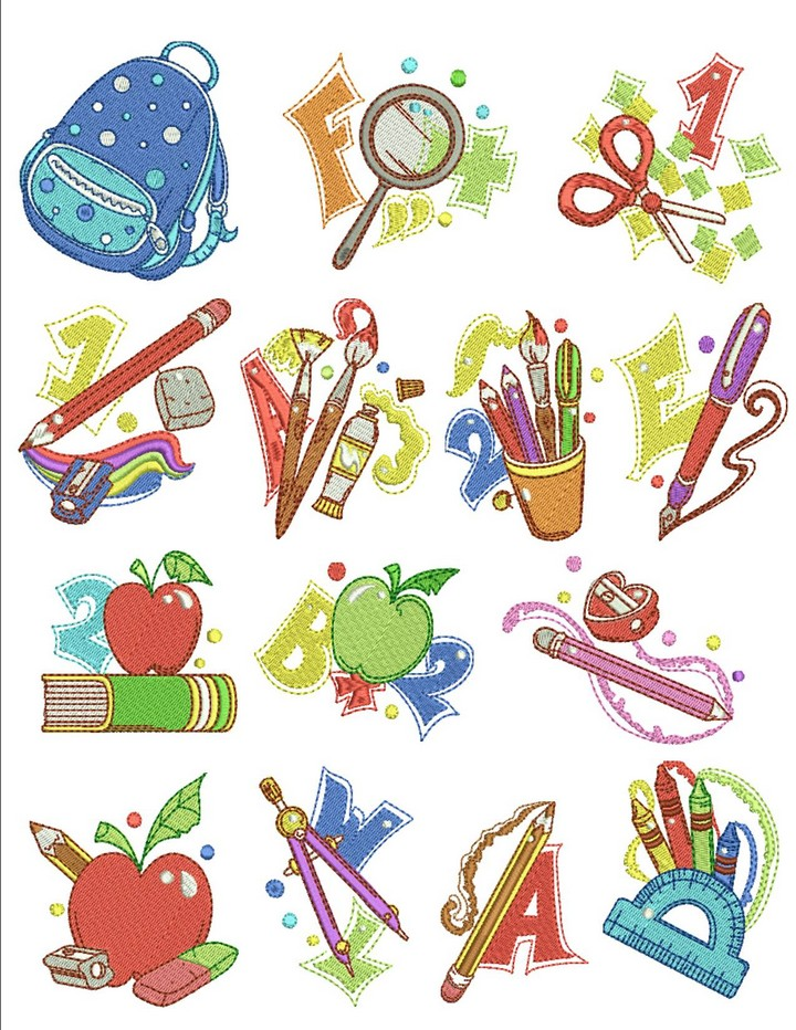 Back To School  Machine Embroidery Designs By Sew Swell