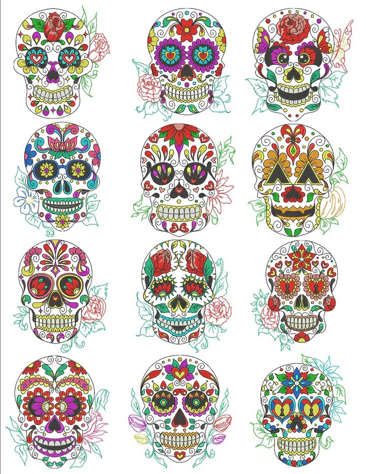 Sugar Skull Embroidery Pattern Sugar Skull Machine Embroidery