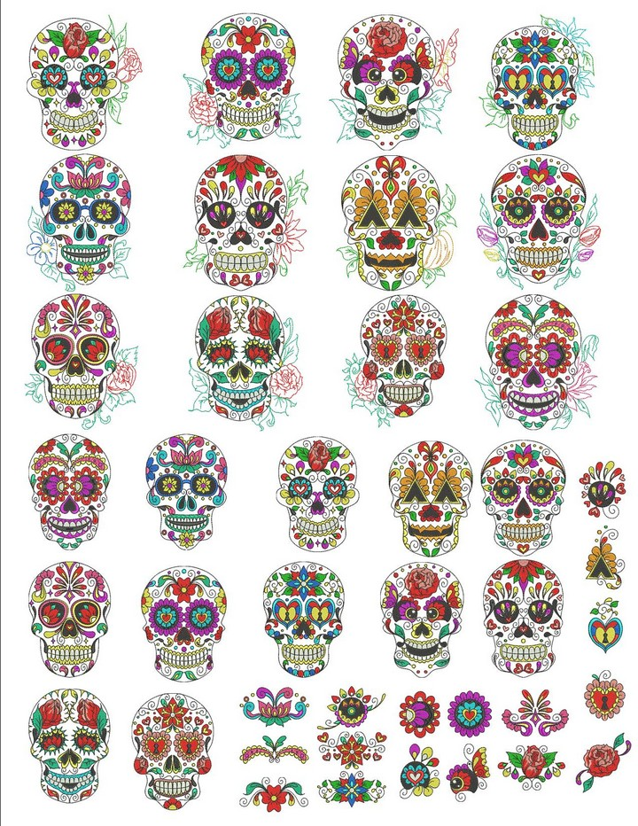 Sugar Skulls Machine Embroidery Designs By Sew Swell