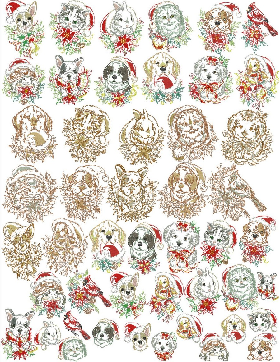 Classic Christmas Pets Machine Embroidery Designs By Sew