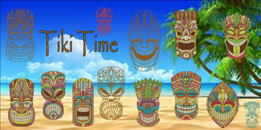 Tiki Time Machine Embroidery Designs By Sew Swell