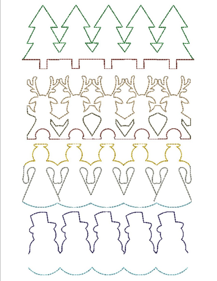 Christmas Continuous Line Quilting Machine Embroidery Designs By
