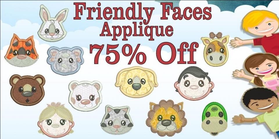 Friendly Faces Applique Banner 75