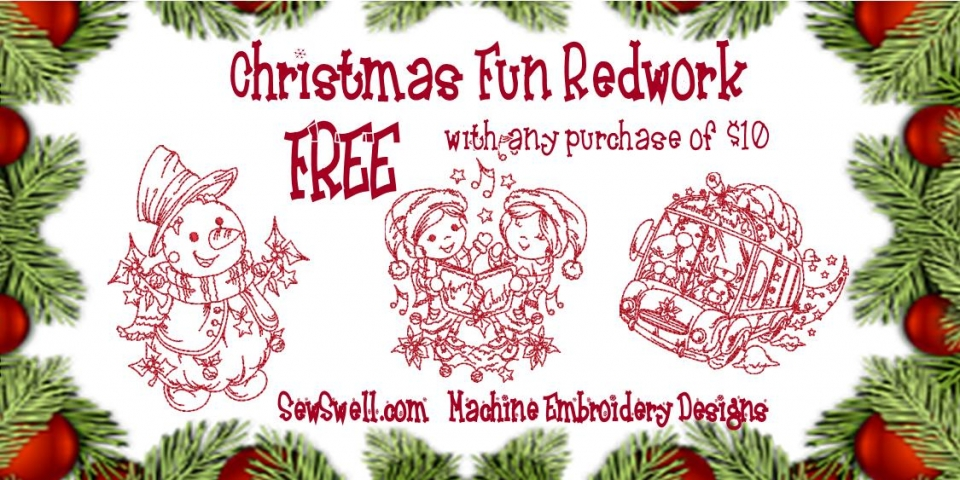 Christmas Fun Redwork Banner