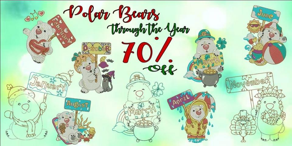 Polar bears throught the year banner