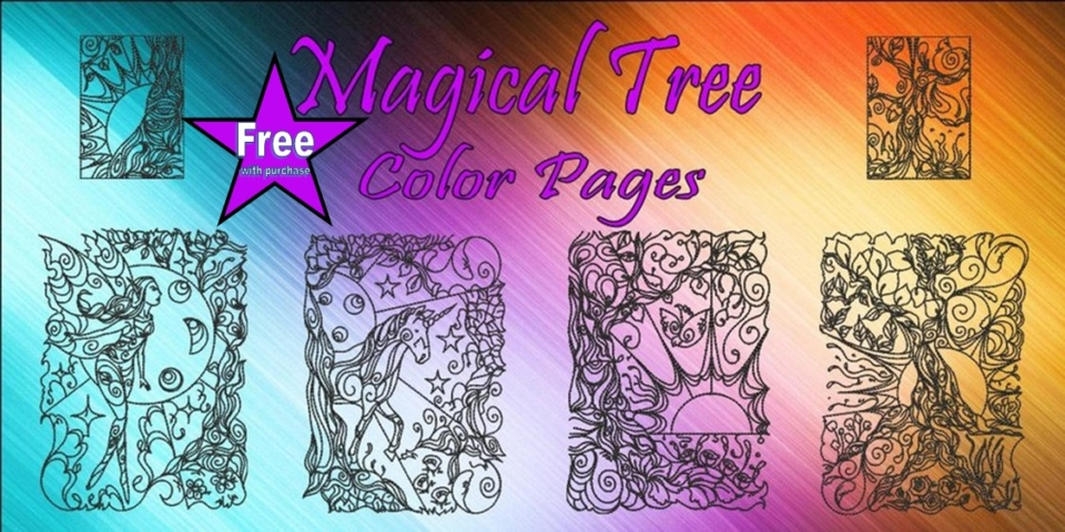 Magical Trees Color Pages Banner